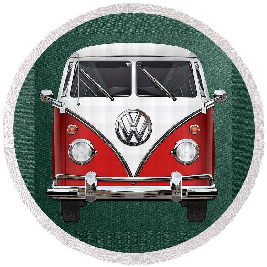 'volkswagen Type 2' Collection By Serge Averbukh Round Beach Towel featuring the photograph Volkswagen Type 2 - Red And White Volkswagen T 1 Samba Bus Over Green Canvas by Serge Averbukh