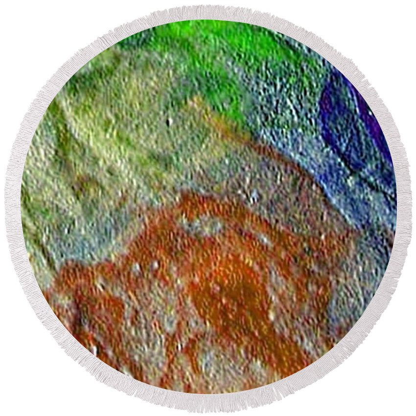 Abstract Round Beach Towel featuring the painting W 045 by Dragica Micki Fortuna