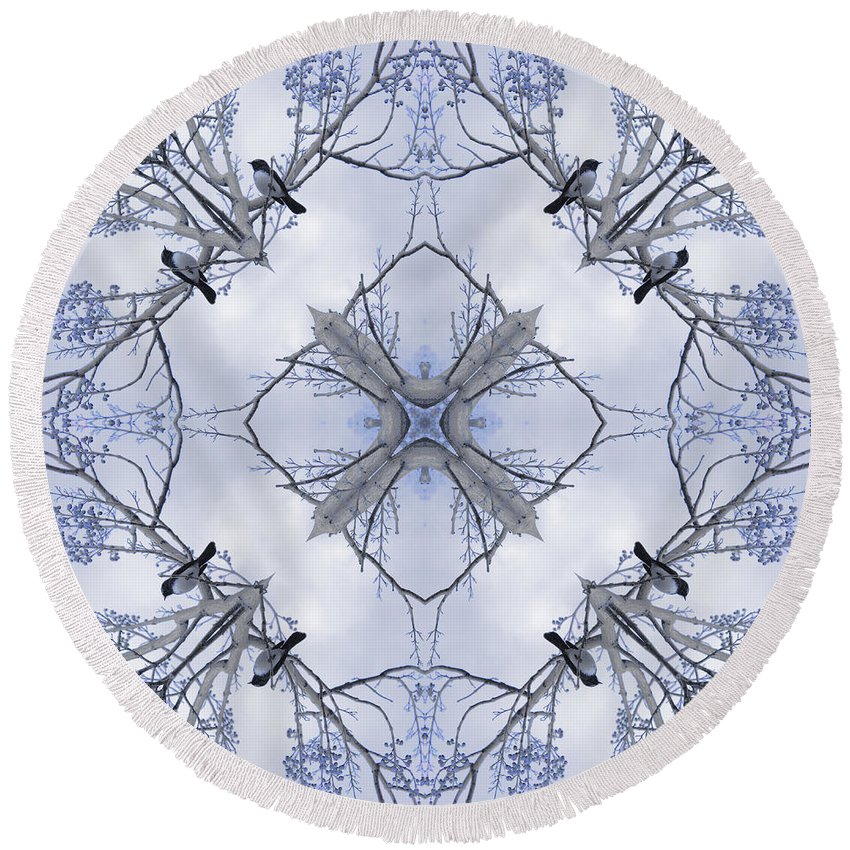 Kaleidoscope Round Beach Towel featuring the photograph Wagtail by Elaine Teague