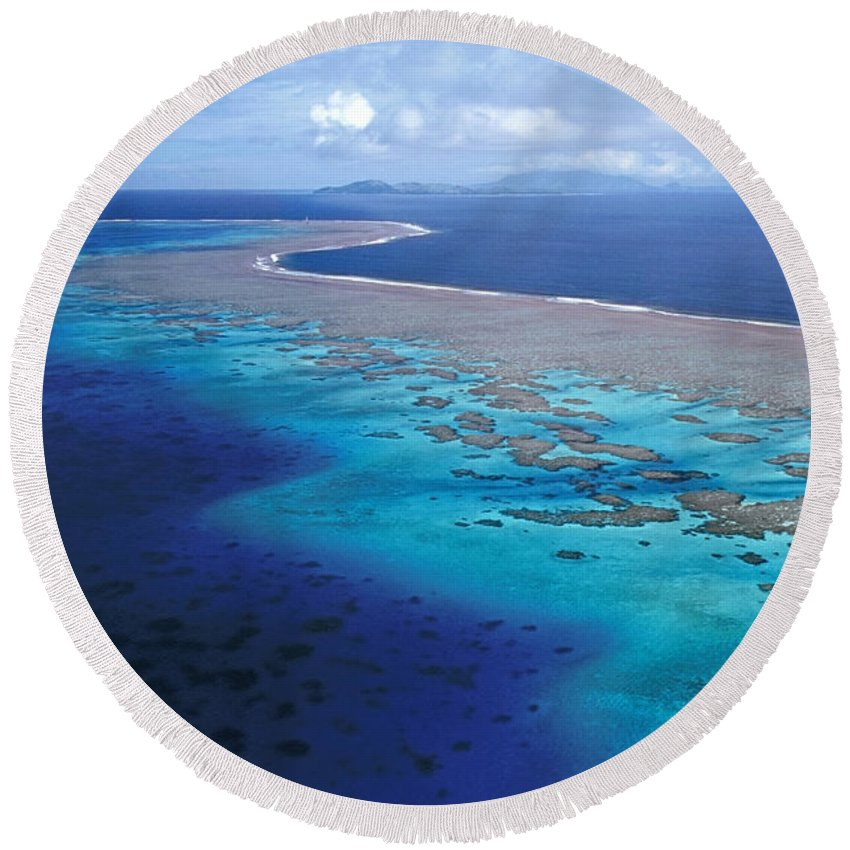 Aerial Round Beach Towel featuring the photograph Wakaya Island Aerial by Larry Dale Gordon - Printscapes