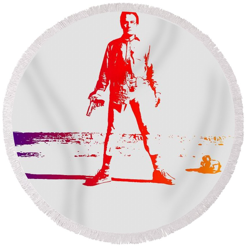Breaking Bad Round Beach Towel featuring the photograph Walter White Aka Heisenberg by Chris Smith