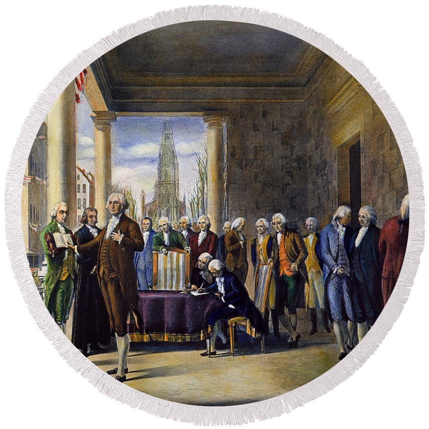 1789 Round Beach Towel featuring the photograph Washington: Inauguration by Granger