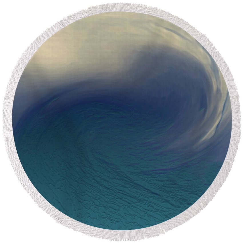 Abstract Wave Blue White Round Beach Towel featuring the digital art Water And Clouds by Linda Sannuti