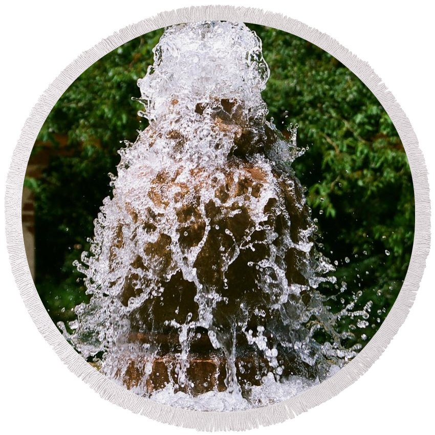 Water Round Beach Towel featuring the photograph Water Fountain by Dean Triolo