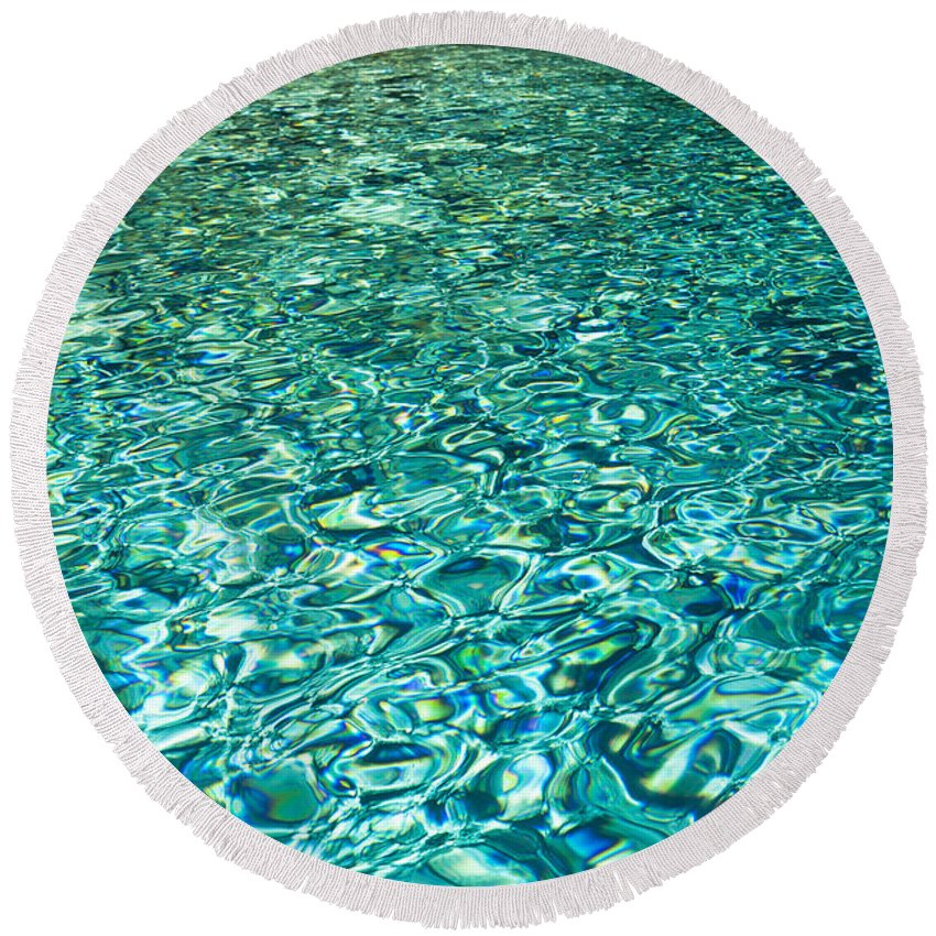 Clear Round Beach Towel featuring the photograph Water Patterns by Chris Deeney