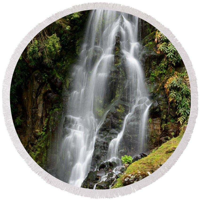 Landscape Round Beach Towel featuring the photograph Waterfall At Azores by Juraj Simek