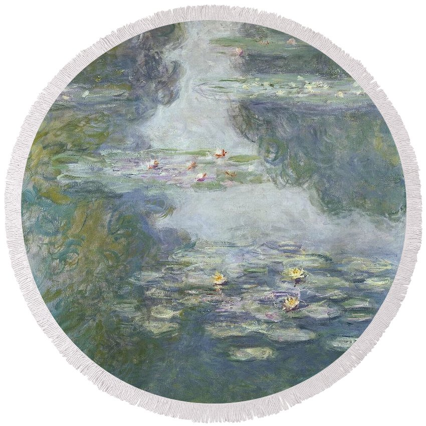 Pads Round Beach Towel featuring the painting Waterlilies by Claude Monet