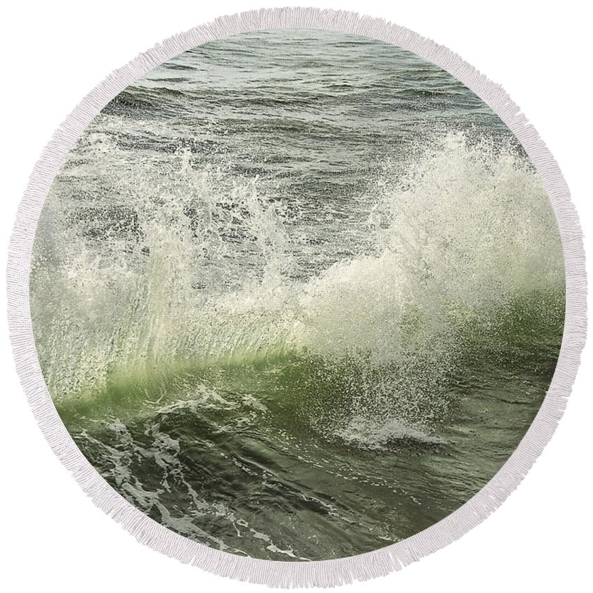 Aqua Round Beach Towel featuring the photograph Waves by Svetlana Sewell