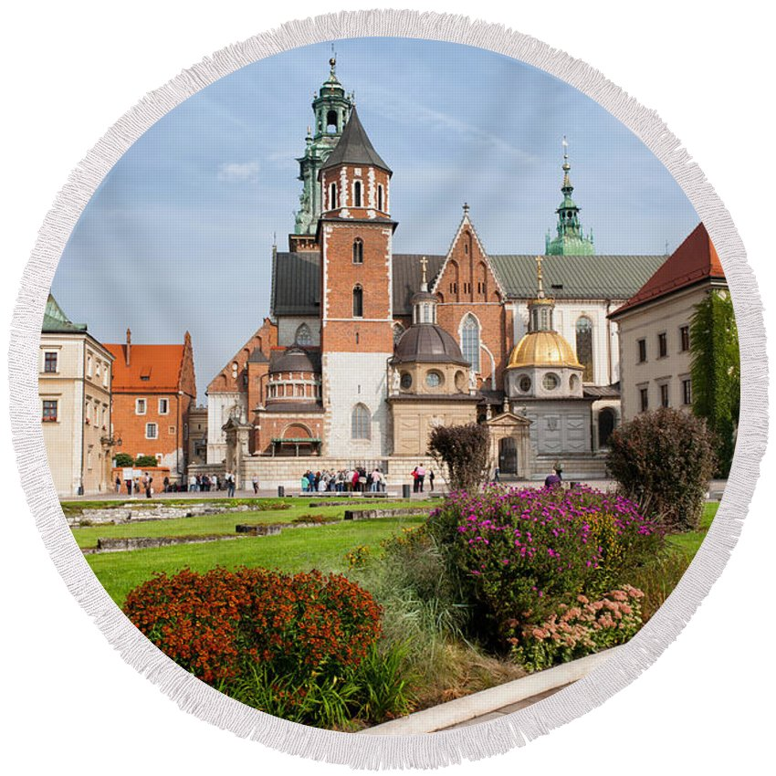 Krakow Round Beach Towel featuring the photograph Wawel Cathedral In Krakow by Artur Bogacki