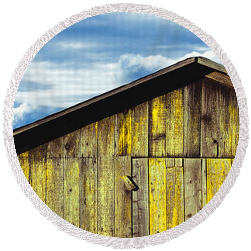 Photography Round Beach Towel featuring the photograph Weathered Wooden Barn, Gaviota, Santa by Panoramic Images