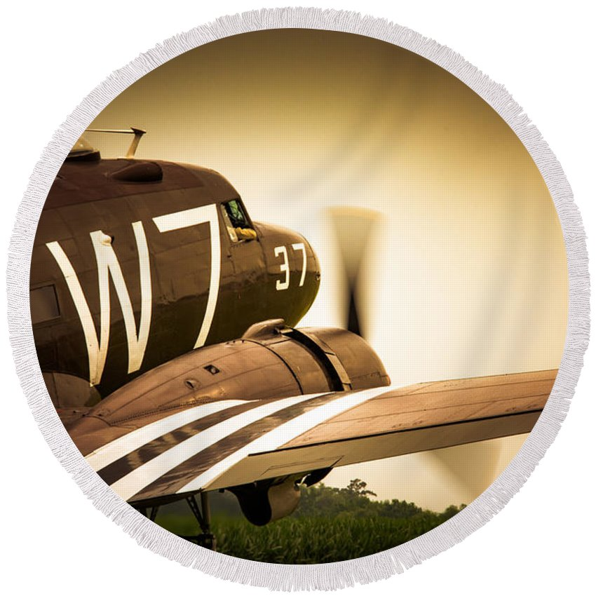 Aviation Round Beach Towel featuring the photograph Whiskey Seven by Guy Whiteley
