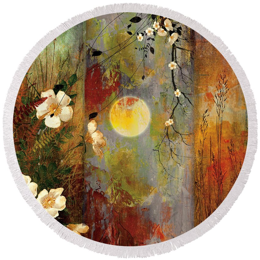 Moon Triptych Round Beach Towel featuring the painting Whisper Forest Moon II by Mindy Sommers