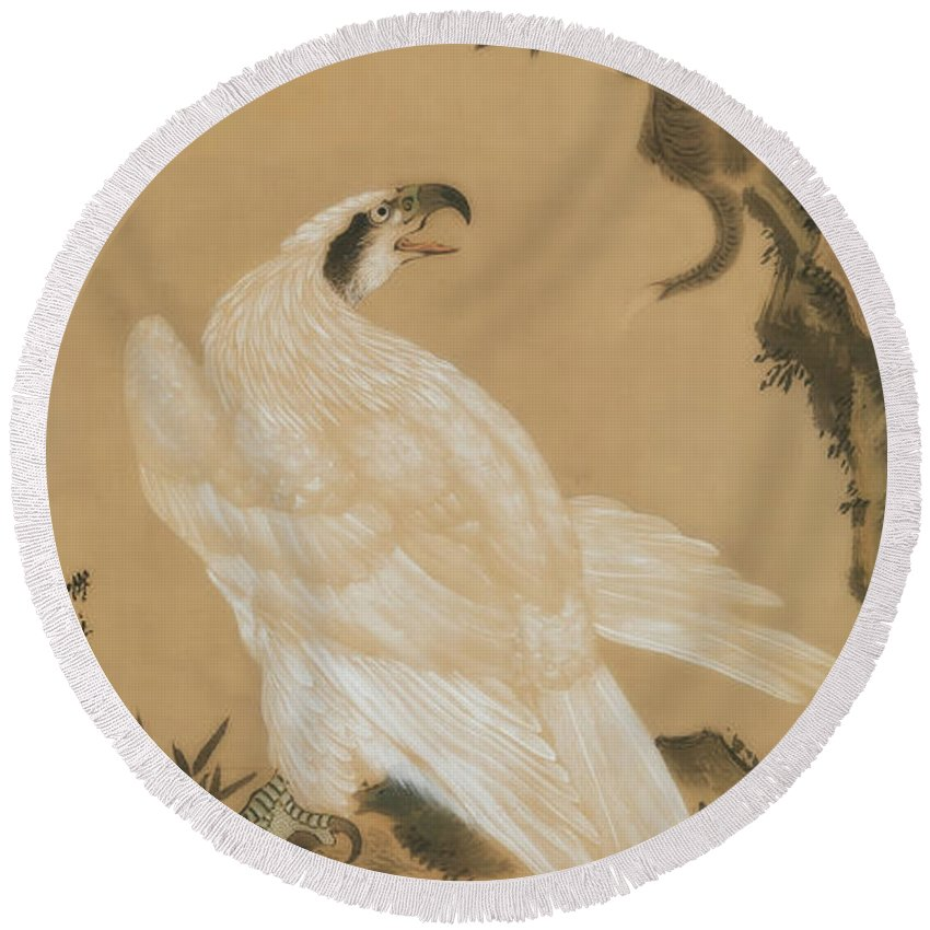Painting Round Beach Towel featuring the painting White Eagle Eyeing A Mountain Lion by Kawanabe Kyosai