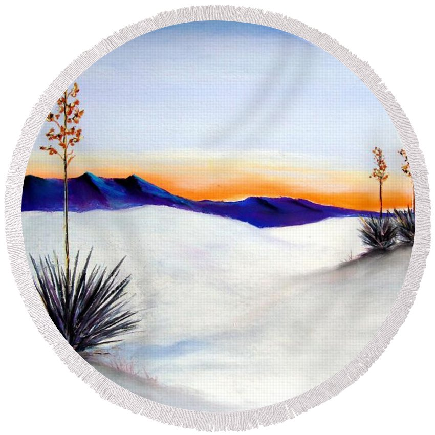 White Sands Round Beach Towel featuring the painting White Sands by Melinda Etzold