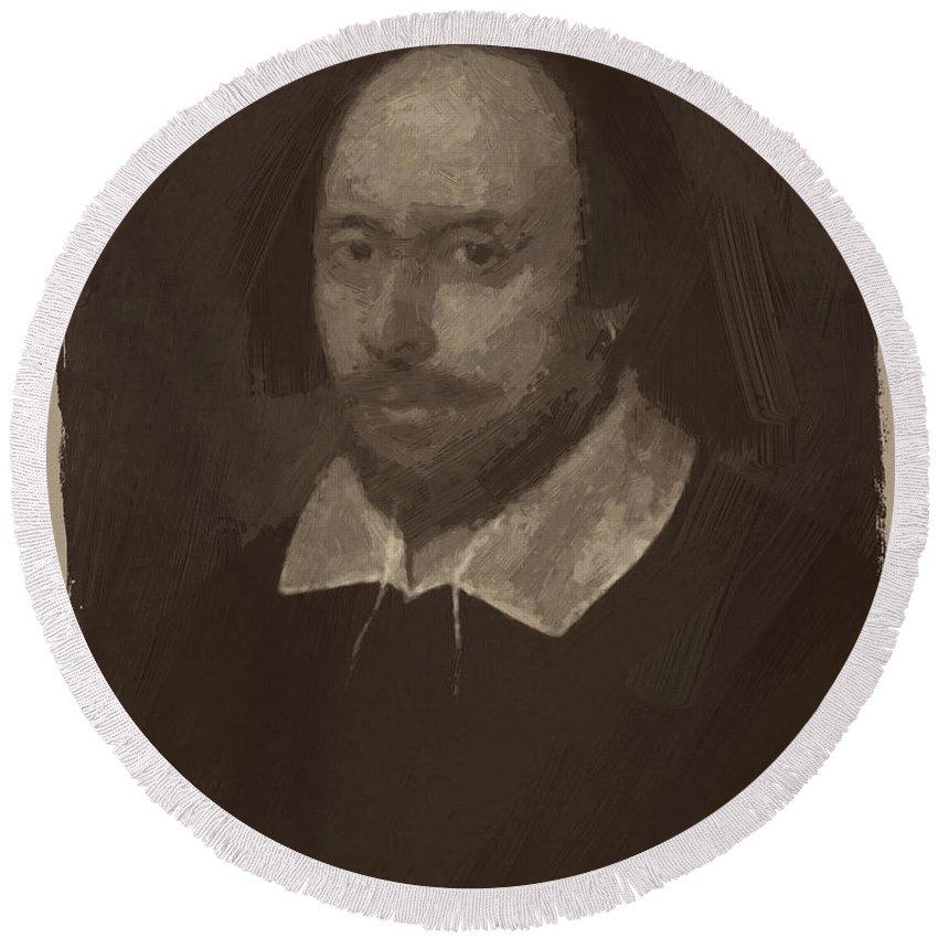 William Shakespeare Round Beach Towel featuring the digital art William Shakespeare by Afterdarkness