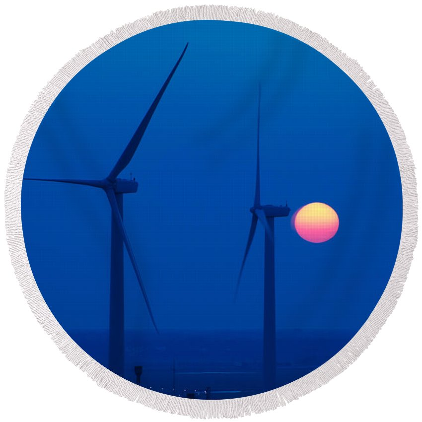 Wind Farm Round Beach Towel featuring the photograph Wind Farm by George Mattei