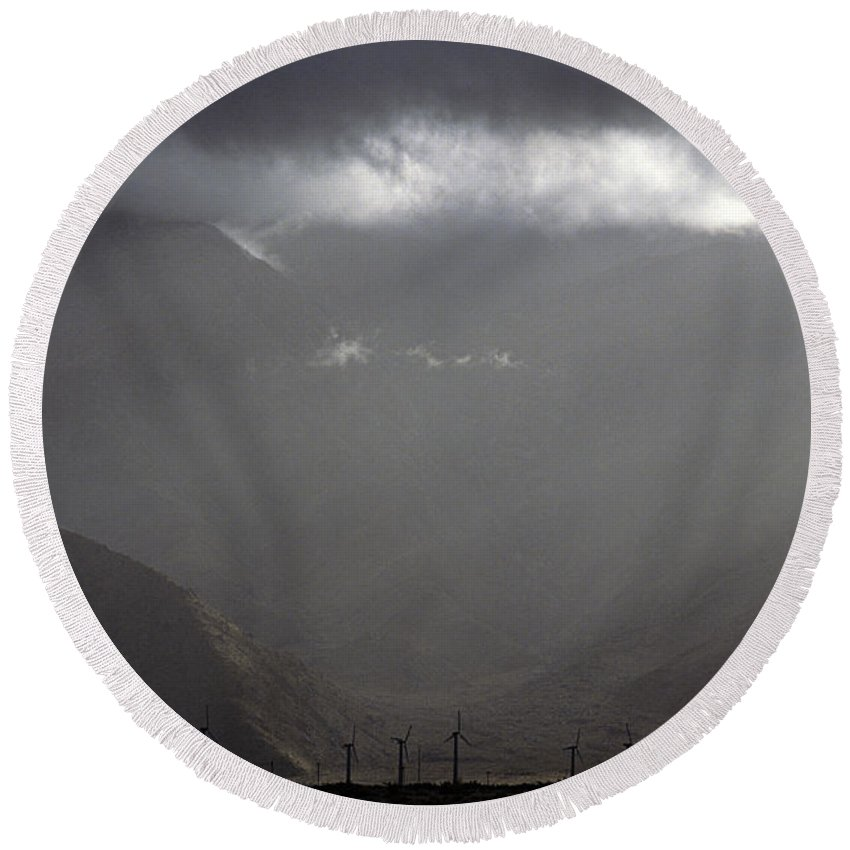 Windfarm Round Beach Towel featuring the photograph Windmill Farm Stormy Weather by Jim Corwin