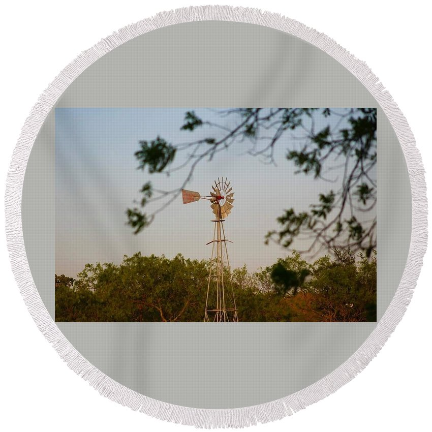 Landscape Round Beach Towel featuring the photograph Windmill by Suzette Munson