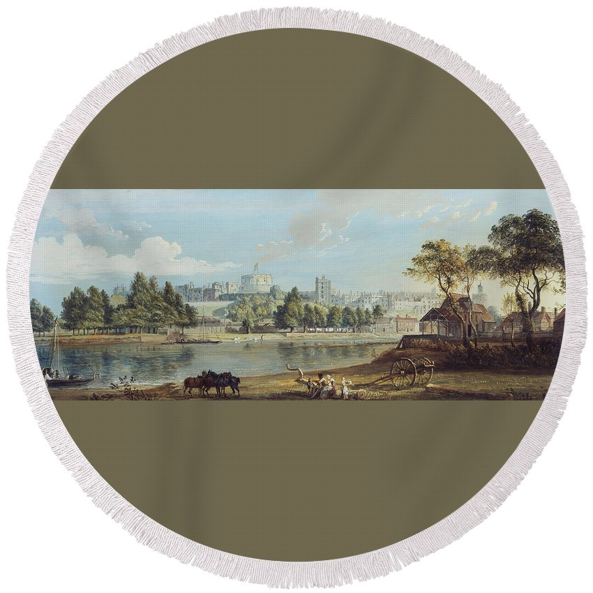 Paul Sandby (1731-1809) Windsor Castle From The Eton Shore C. 1780-1805 Round Beach Towel featuring the painting Windsor Castle From The Eton Shore by MotionAge Designs