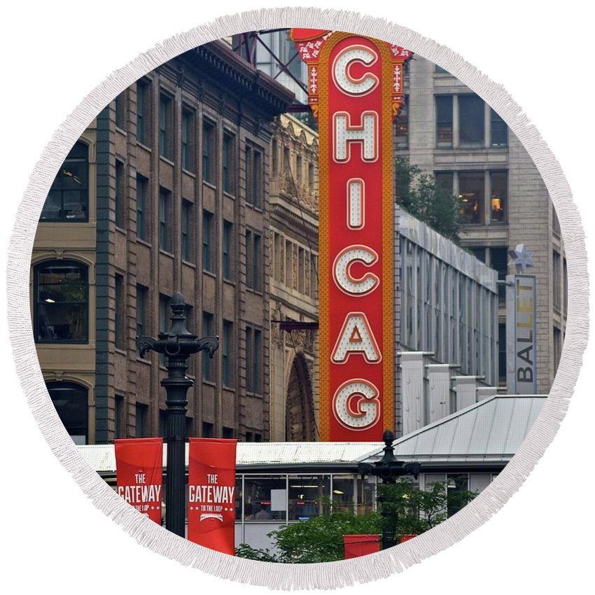 American Round Beach Towel featuring the photograph Windy City Theater by Frozen in Time Fine Art Photography
