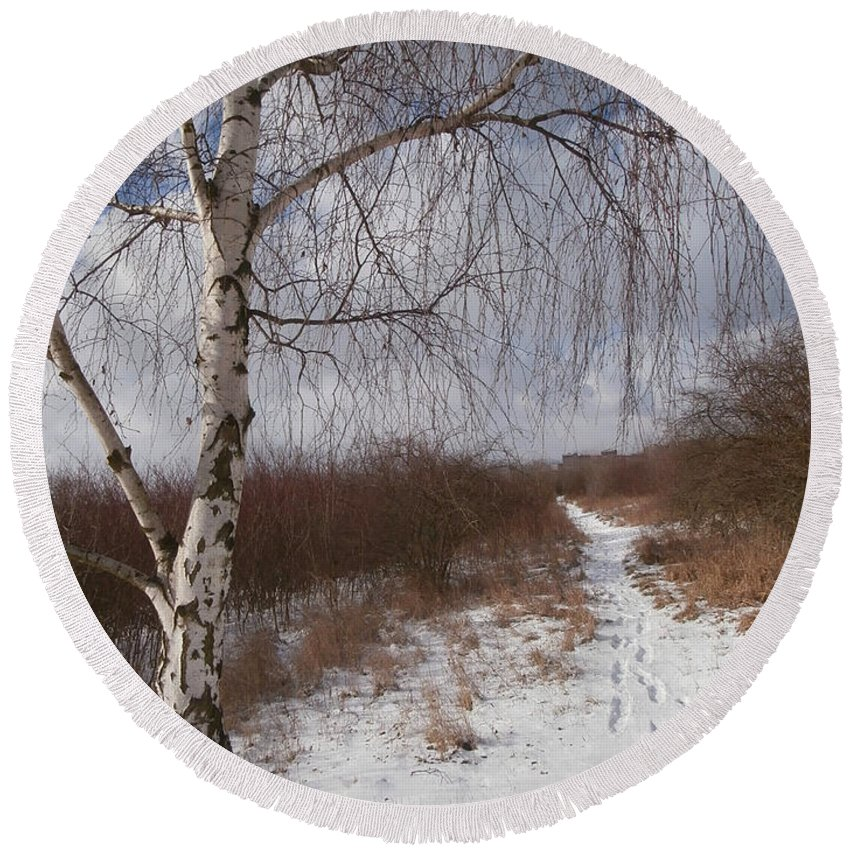 Background Round Beach Towel featuring the photograph Winter Birch by Miroslav Nemecek