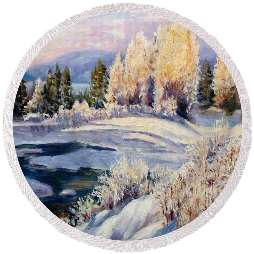 Winter Round Beach Towel featuring the painting Winter by Elena Sokolova