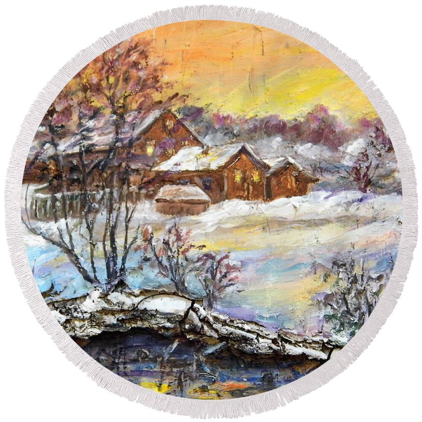 Nature Round Beach Towel featuring the painting Winter Evening. by Maya Bukhina