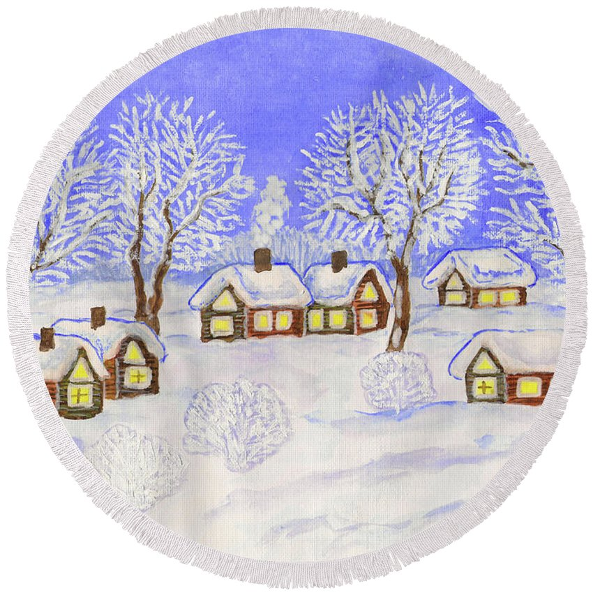 Art Round Beach Towel featuring the painting Winter Landscape, Painting by Irina Afonskaya