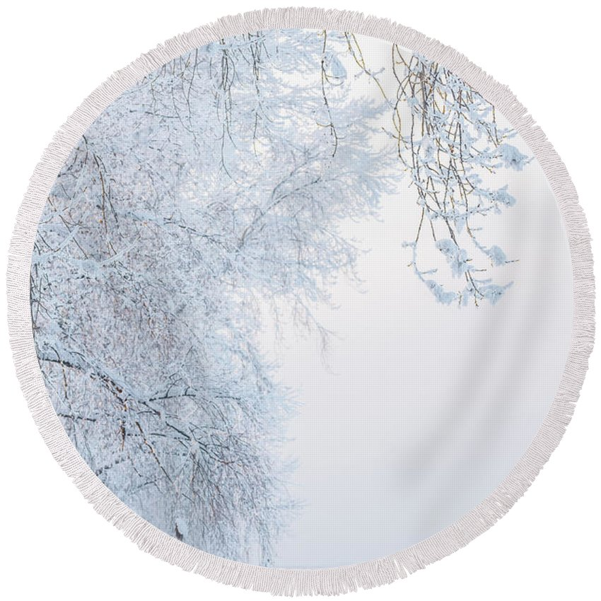 Adventure Round Beach Towel featuring the photograph Winter Landscape With Snow-covered Trees by Oleg Yermolov