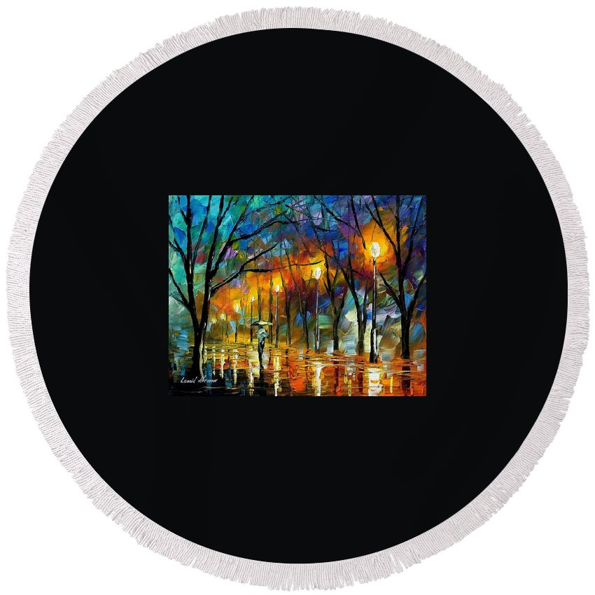 Landscape Round Beach Towel featuring the painting Winter by Leonid Afremov