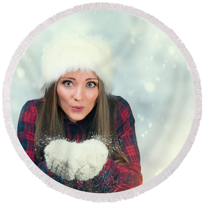 Young Round Beach Towel featuring the photograph Winter Wonderland by Amanda Elwell