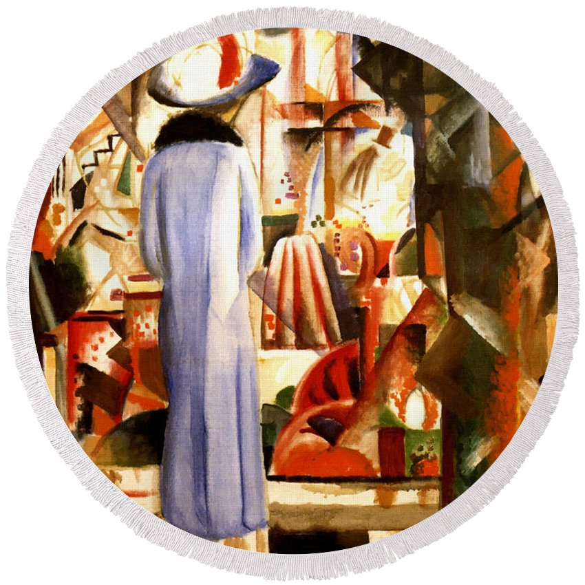 August Macke Round Beach Towel featuring the painting Woman In Front Of A Large Illuminated Window by August Macke