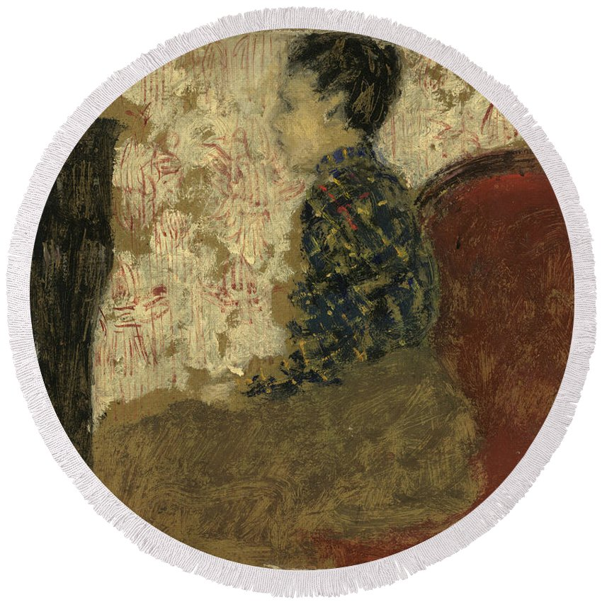 Edouard Vuillard Round Beach Towel featuring the painting Woman Sitting By The Fireside by Edouard Vuillard