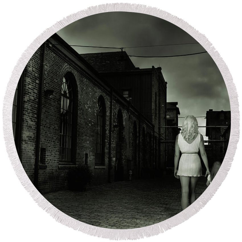Woman Round Beach Towel featuring the photograph Woman Walking Away With A Child by Maxim Images Prints
