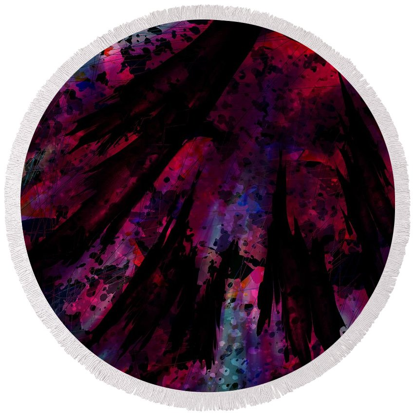 Abstract Round Beach Towel featuring the digital art Words With A Red Wing by Rachel Christine Nowicki