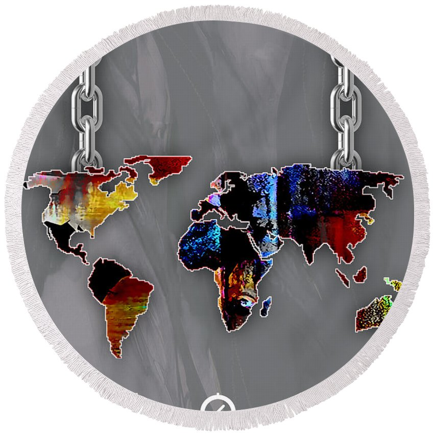 World Map Round Beach Towel featuring the mixed media World Map Collection by Marvin Blaine