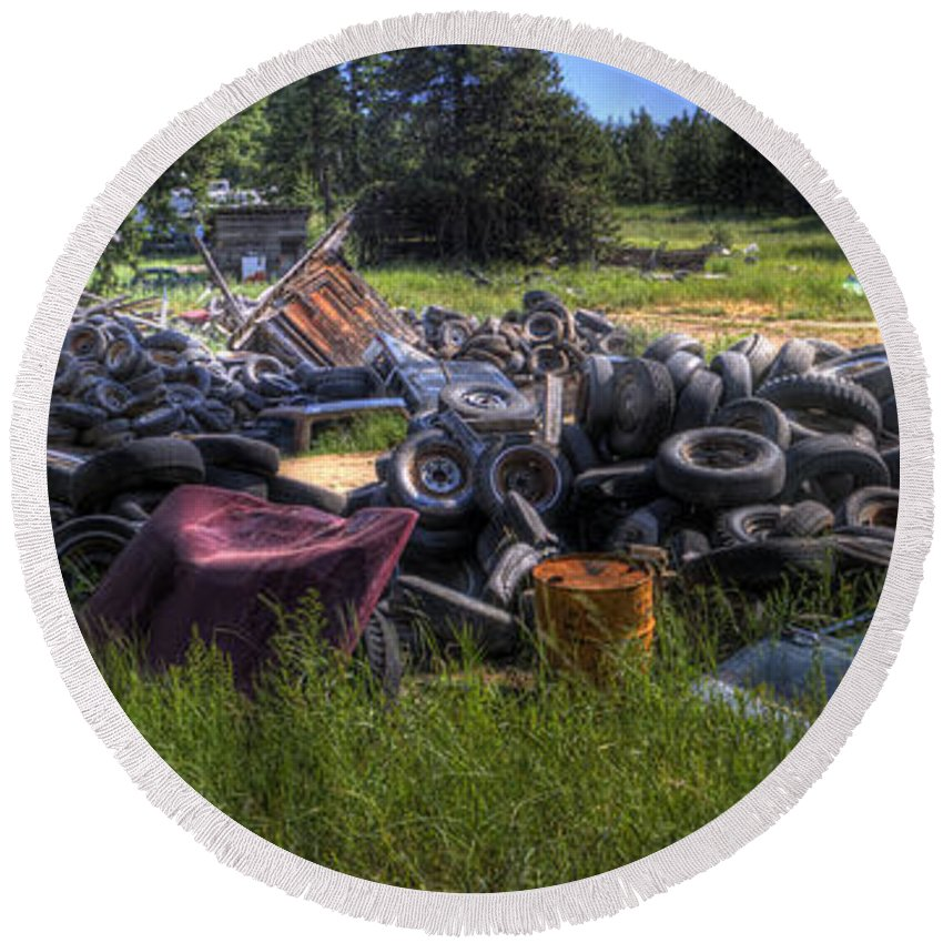 Automotive Round Beach Towel featuring the photograph Wrecking Yard Study 9 by Lee Santa