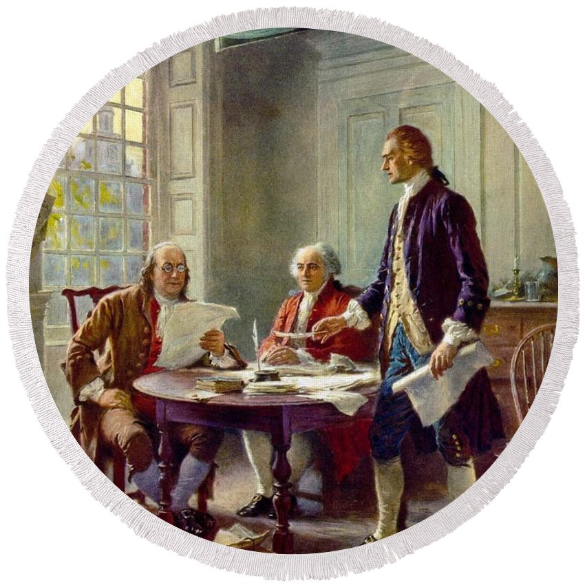Founding Fathers Round Beach Towel featuring the painting Writing The Declaration Of Independence, 1776 by Jean Leon Gerome Ferris