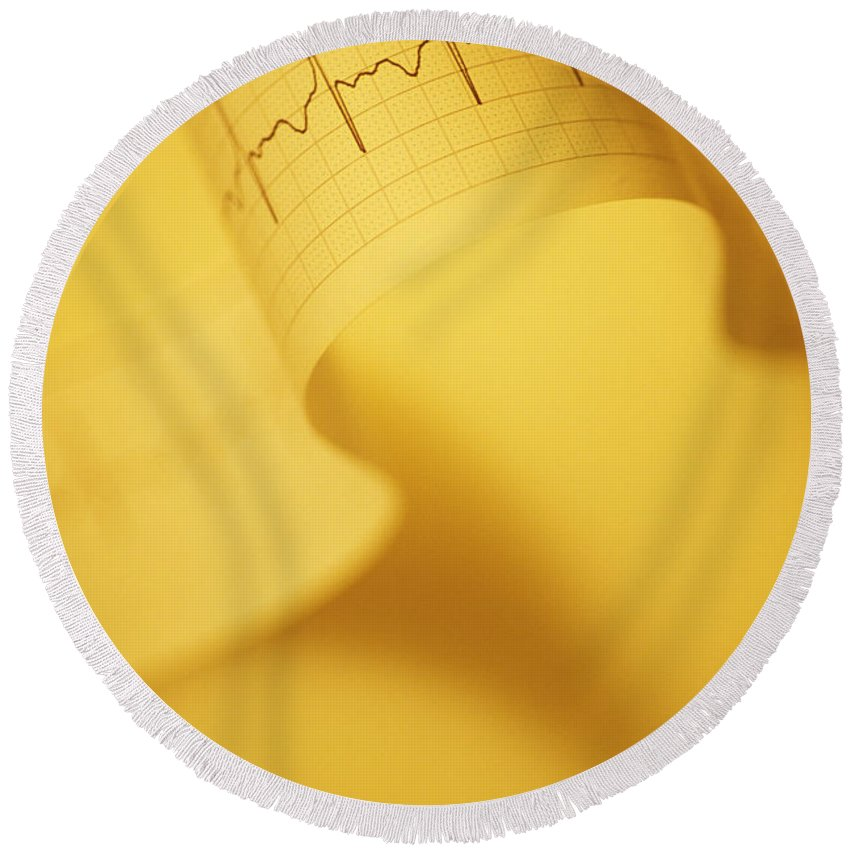 Ekg Round Beach Towel featuring the photograph Yellow Ekg by George Mattei