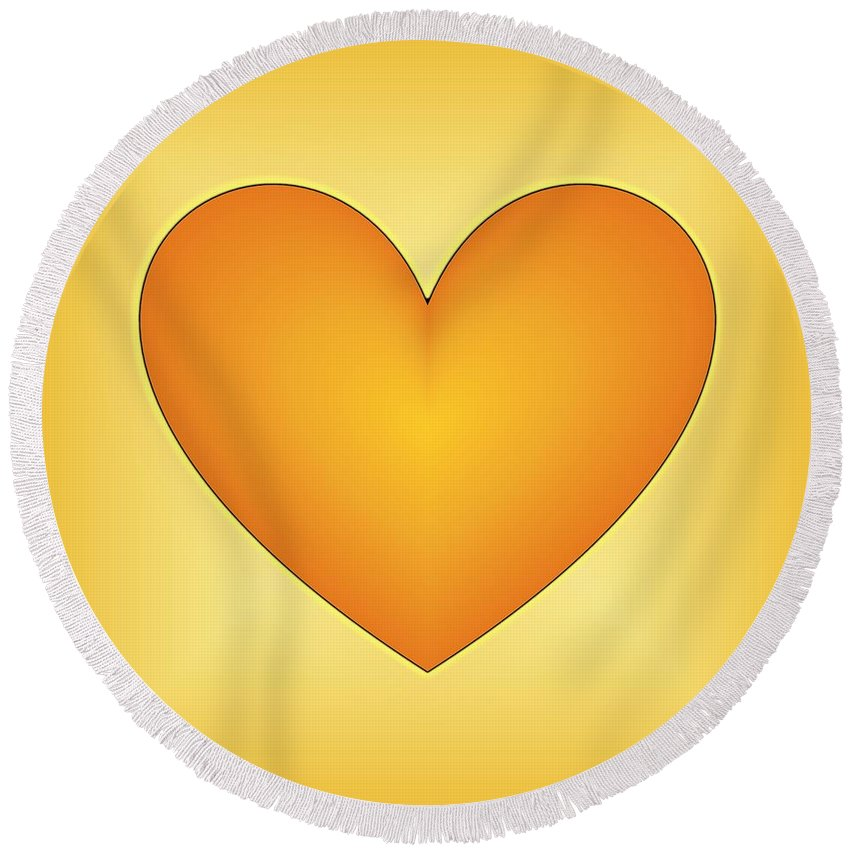 Love Heart Round Beach Towel featuring the digital art Yellow Love Heart 3 by Geraldine Cote