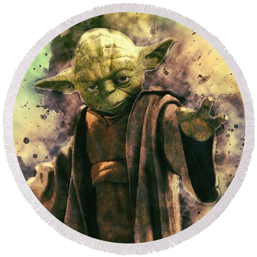 Yoda Round Beach Towel featuring the digital art Yoda by Zapista Zapista