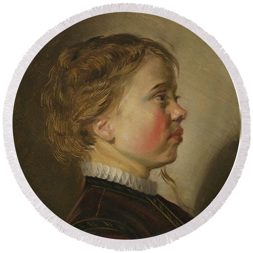 Judith Leyster Round Beach Towel featuring the painting Young Boy In Profile by Judith Leyster