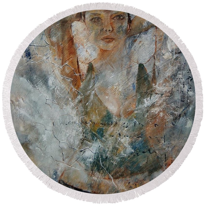 Girl Round Beach Towel featuring the painting Young Girl 679080 by Pol Ledent