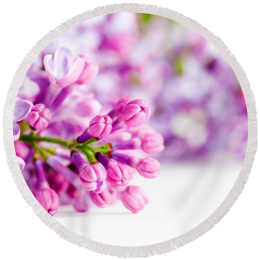 Lilac Round Beach Towel featuring the photograph Young Spring Lilac Flowers Blooming by Michal Bednarek