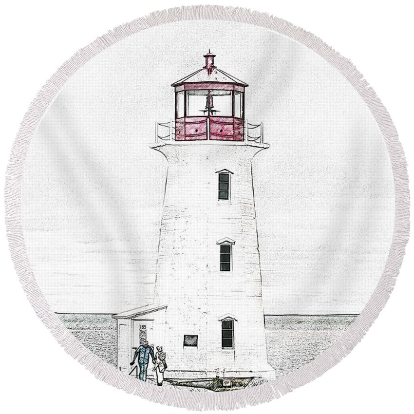 Lighthouse Round Beach Towel featuring the mixed media You're My Beacon Peggy's Cove Lighthouse by Betsy Knapp
