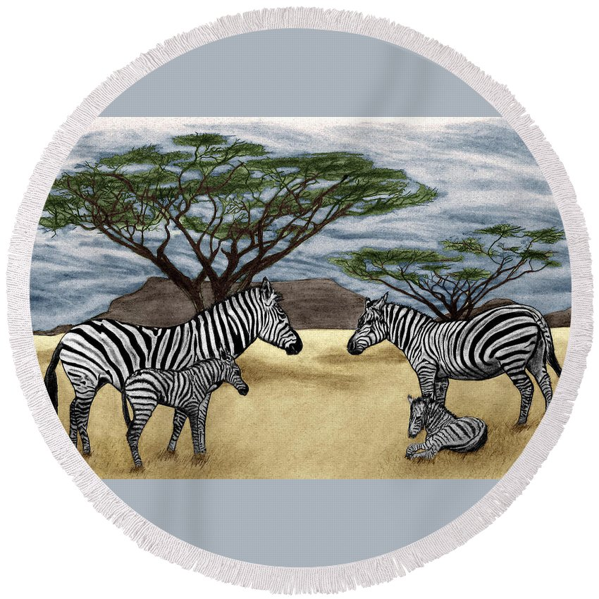 Zebra African Outback Round Beach Towel featuring the drawing Zebra African Outback by Peter Piatt