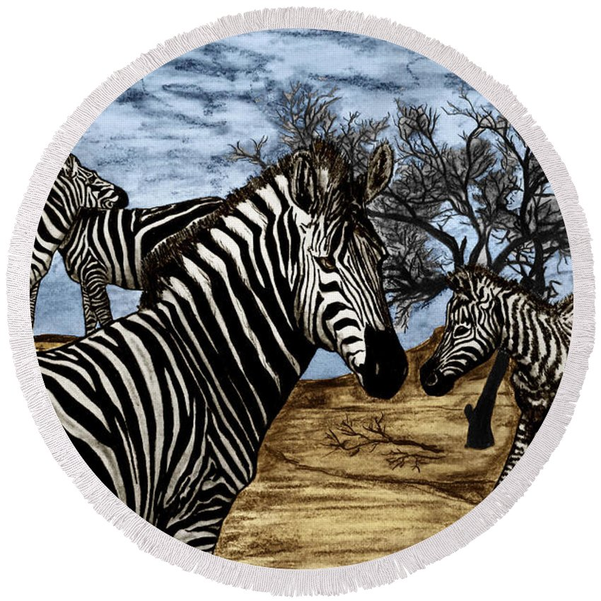 Zebra Outback Round Beach Towel featuring the drawing Zebra Outback by Peter Piatt