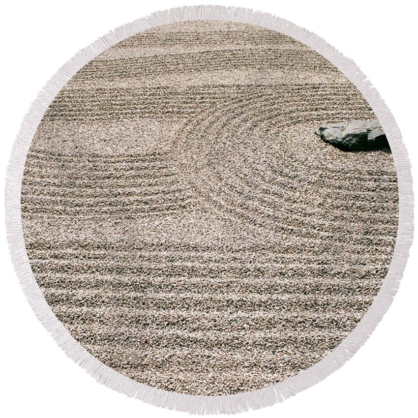 Zen Round Beach Towel featuring the photograph Zen Garden by Dean Triolo