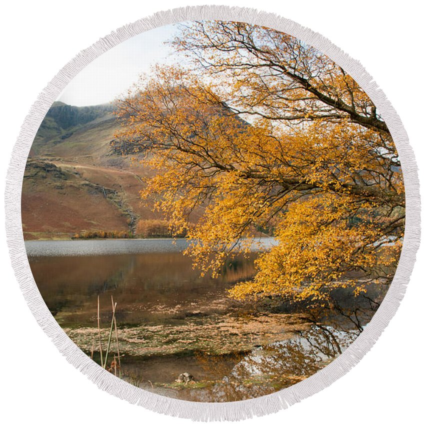 Buttermere Lake Round Beach Towel featuring the photograph Buttermere by Smart Aviation