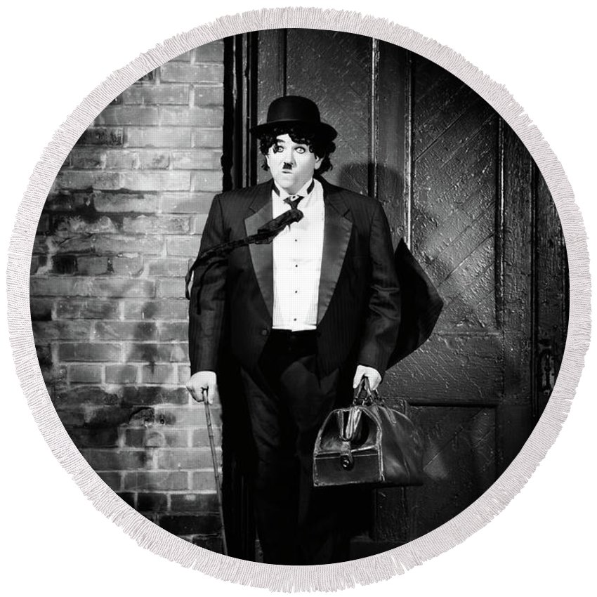 Charlie Chaplin Round Beach Towel featuring the photograph Charlie Chaplin by Maxim Images Prints